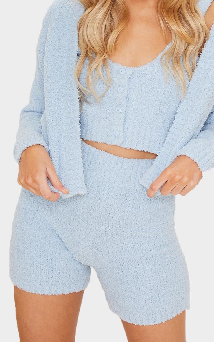 Short bleu ciel Premium  en maille tricot fluffy 5