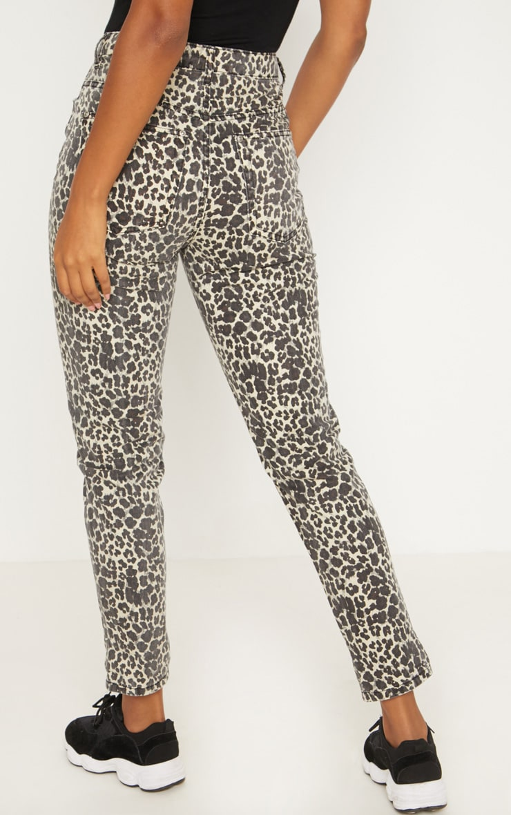 Brown Leopard Print Mom Jeans 4