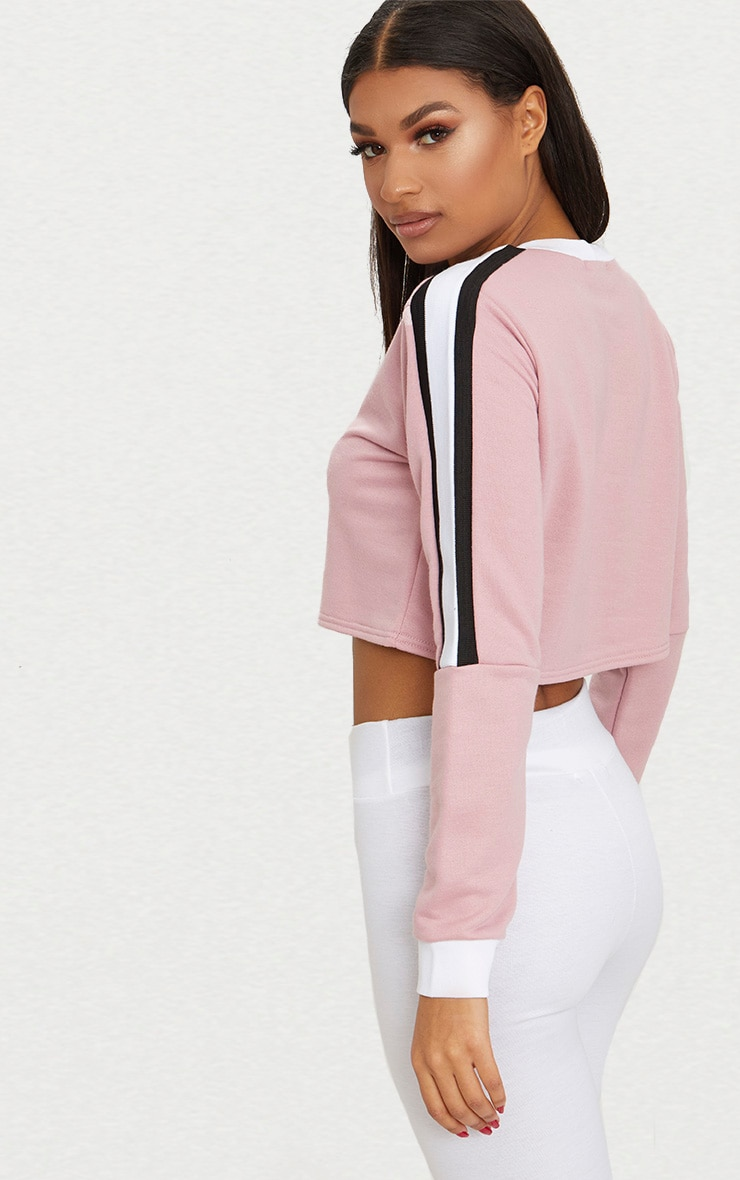 Rose Triple Shoulder Stripe Crop Sweater  2