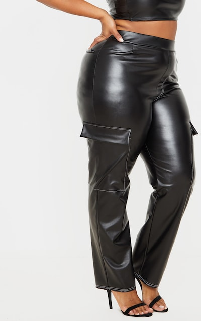 Plus Black PU Contrast Stitch Straight Leg Trouser