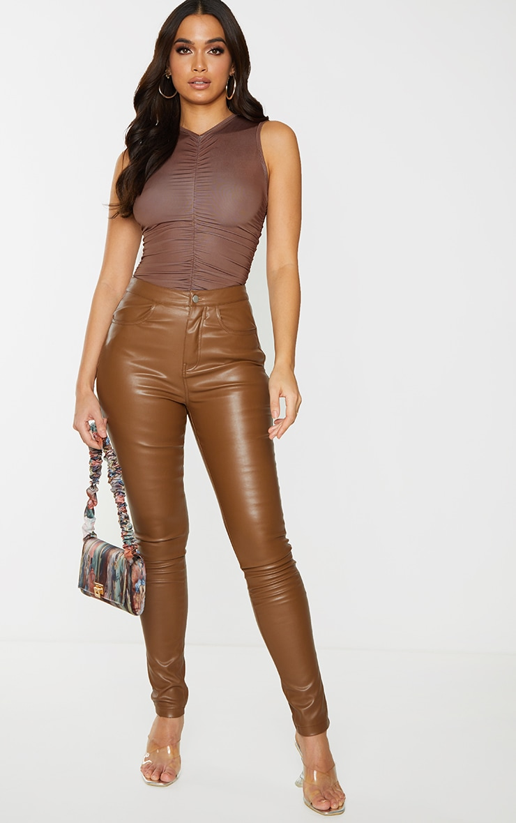 Chocolate Slinky Ruched High Neck Bodysuit 3