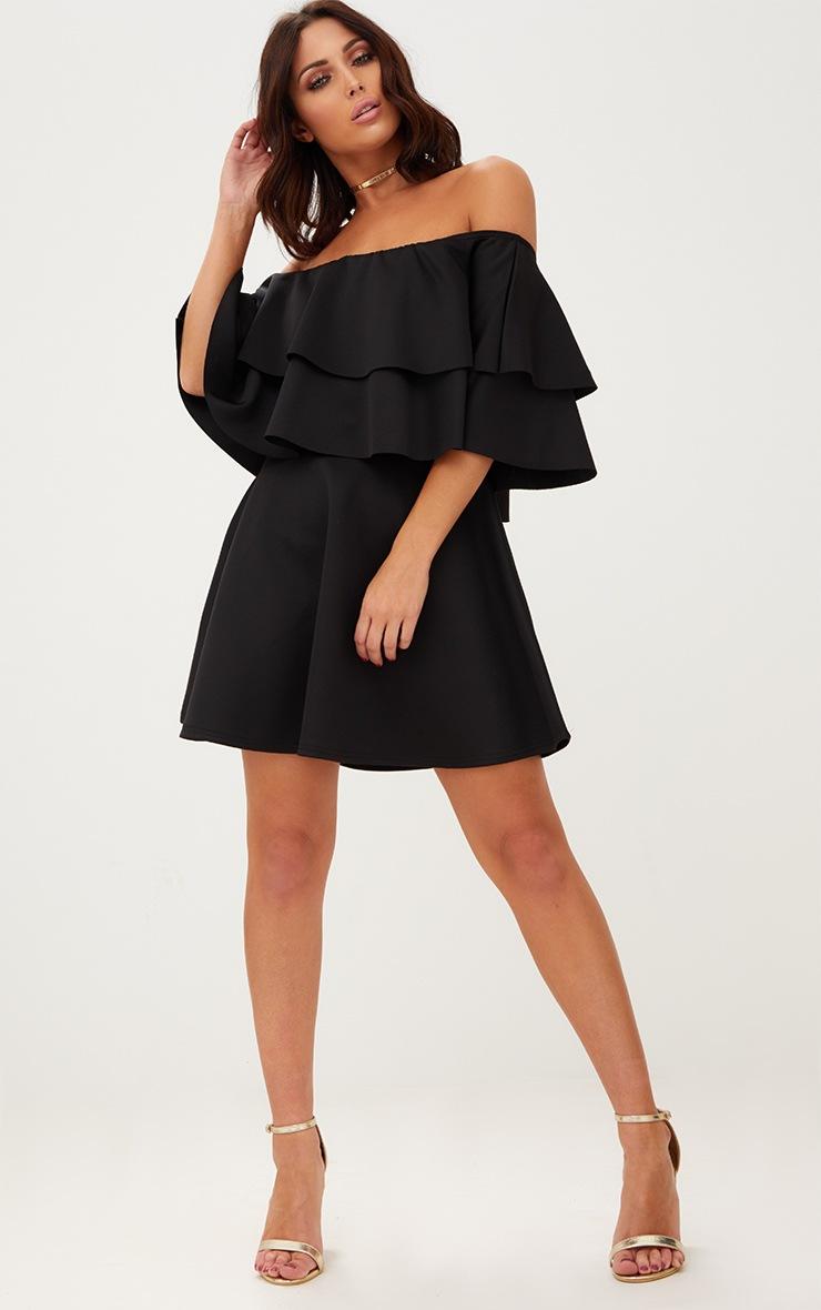 Black Frill Bardot Skater Dress 4