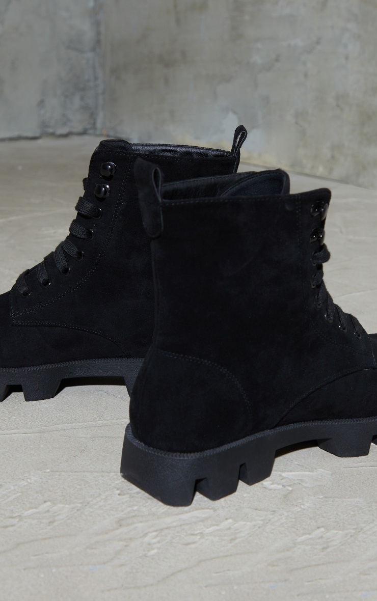 Black Suede Extreme Cleat Chunky Lace Up Ankle Boots 4