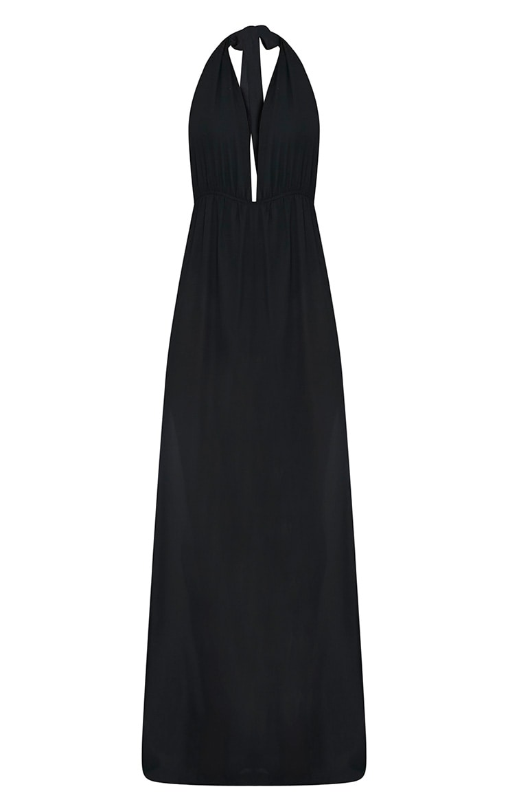 Alina Black Plunge Maxi Dress 3