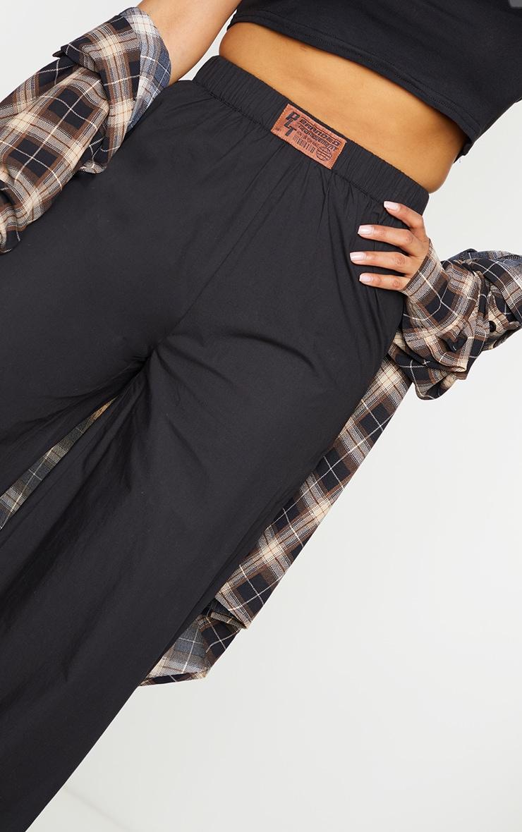 PRETTYLITTLETHING Black Badge Detail Cotton Wide Leg Trousers 4