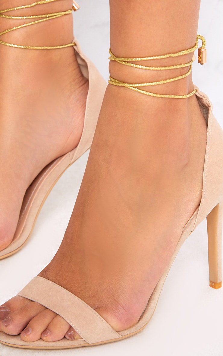 Nude Knotted Strappy Heels 5