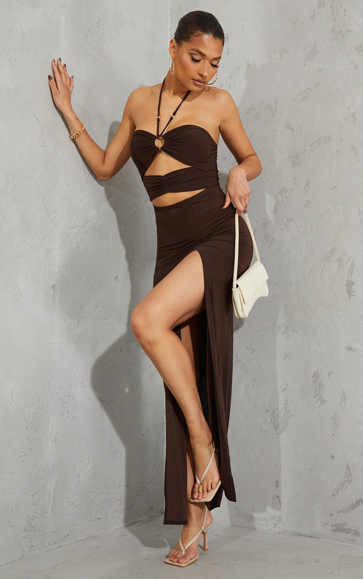Chocolate Slinky Ring Detail Cut Out Halterneck Maxi Dress 3