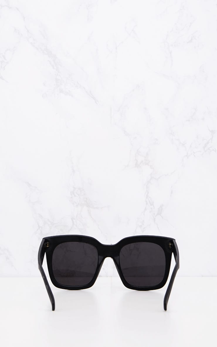 Matte Black Oversized Square Sunglasses 4