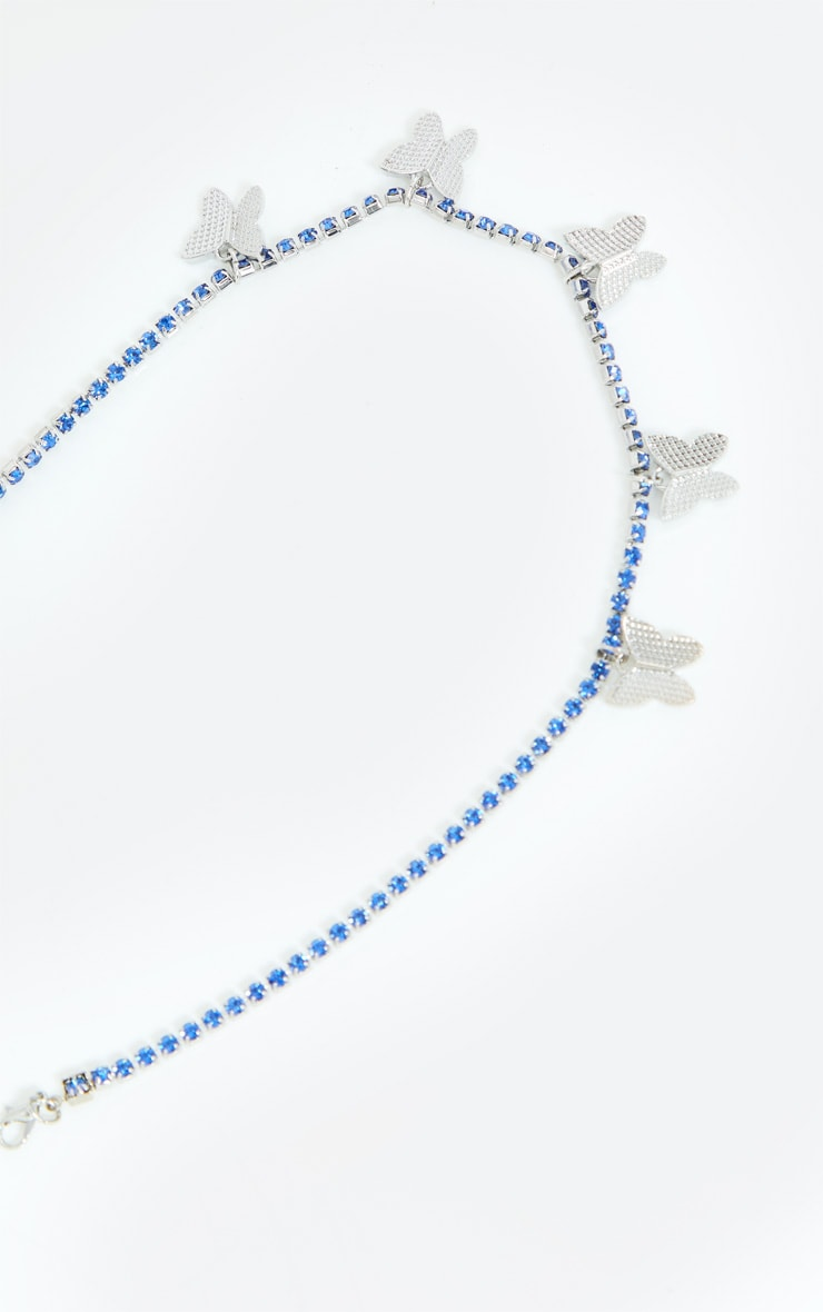 Blue Diamante Butterfly Necklace 2