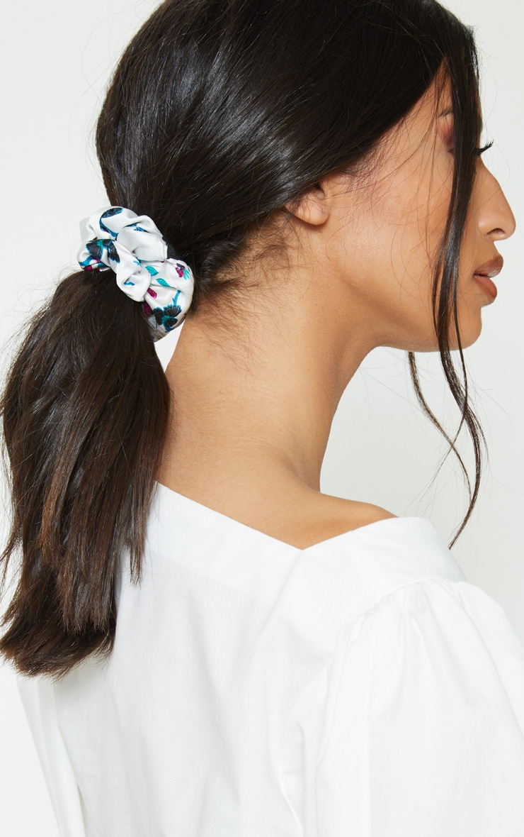 White Floral Satin Scrunchie  1
