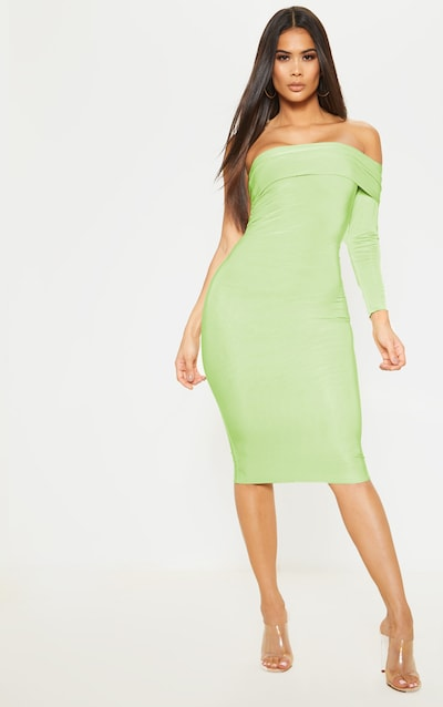 Apple Metallic Slinky Bardot Midi Dress
