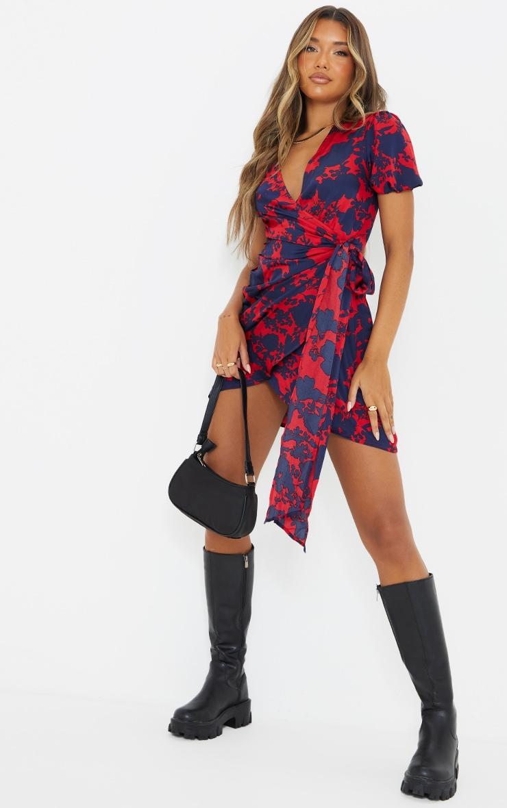 Red Floral Print Tie Side Puff Sleeve Tea Dress 3