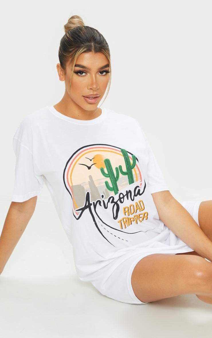 White Arizona Print Slogan T Shirt Dress 1