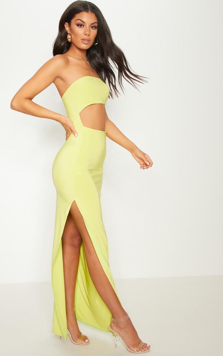 Lime Bandeau Cut Out Maxi Dress 4