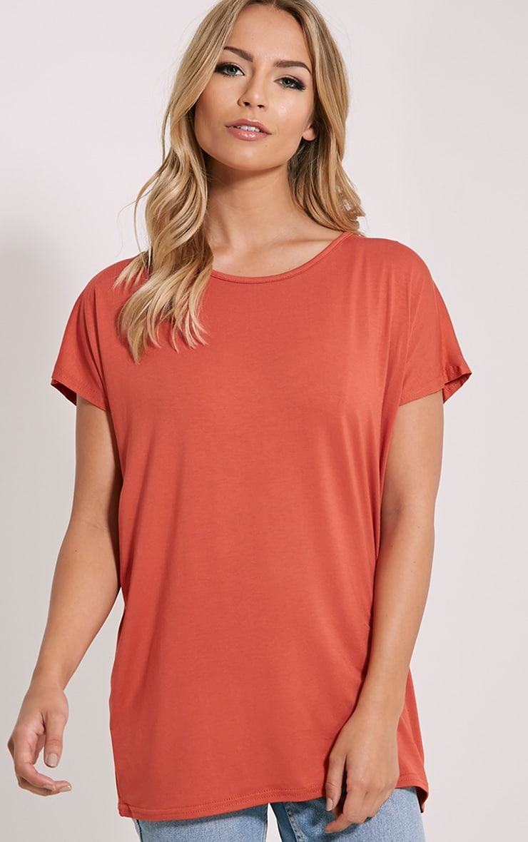 Basic Rust Oversized Round Neck T-Shirt 1