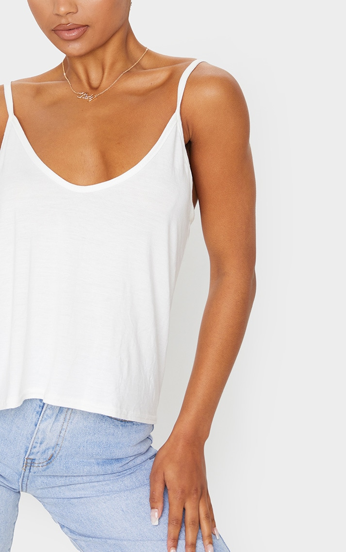 Basic Cream Jersey V Neck Swing Vest 4