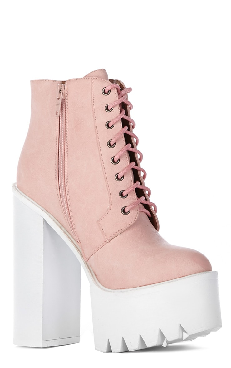 Wesley Pink Chunky Lace Up Boots 3