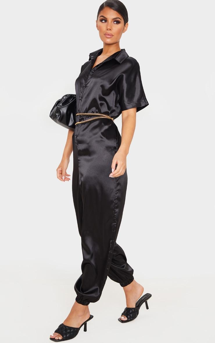 Black Bonded Satin Oversized Shirt Jumpsuit 1