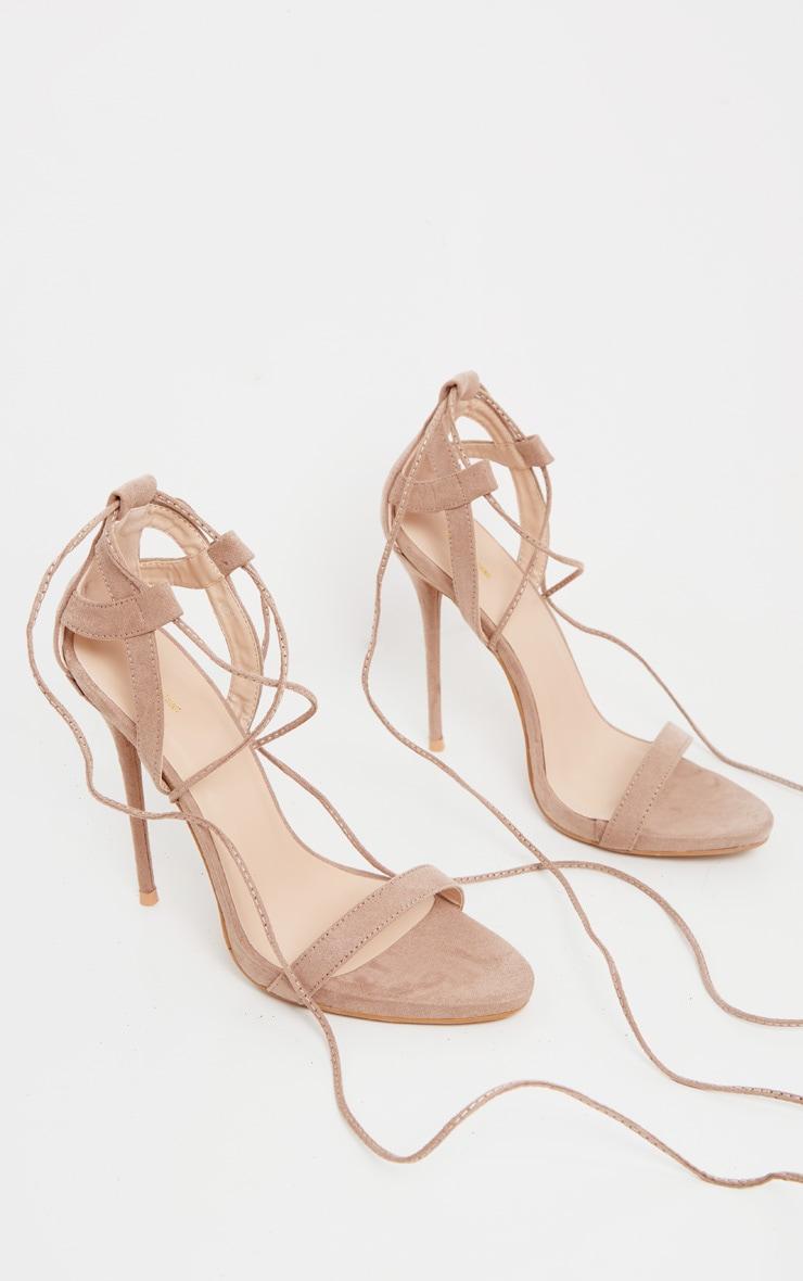 Sandales taupe à talons & lacets 3