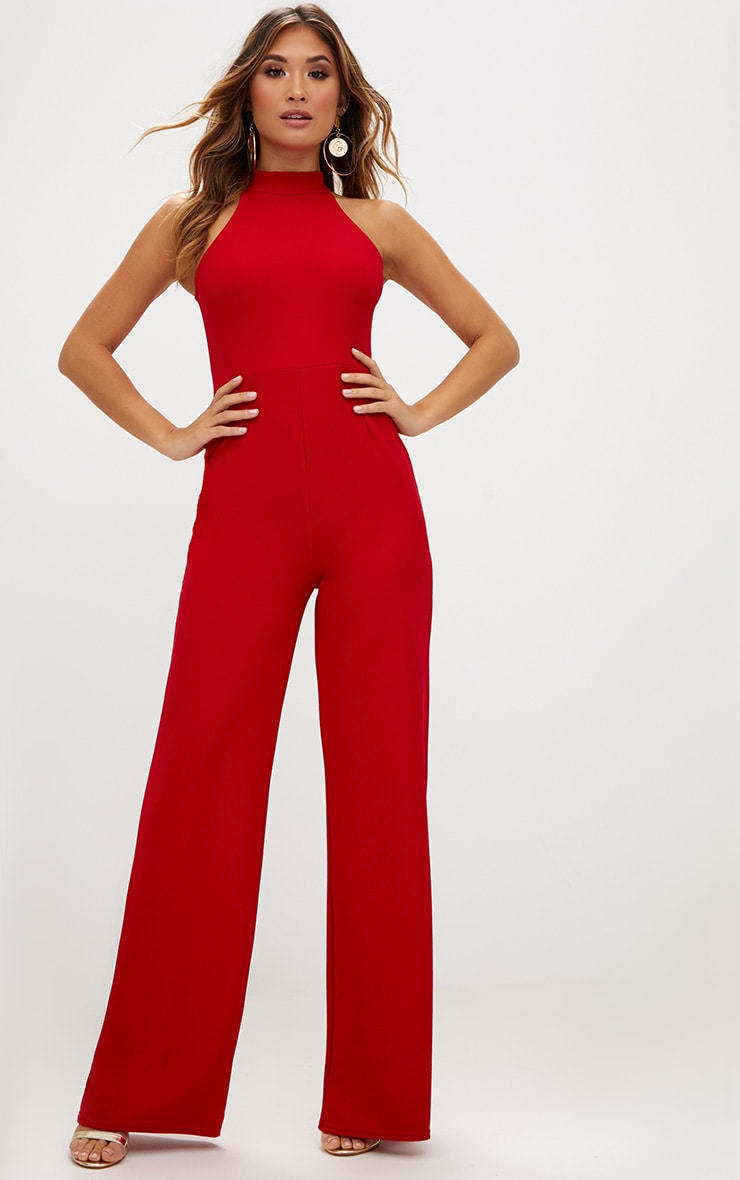 Red Crepe High Neck Jumpsuit 1