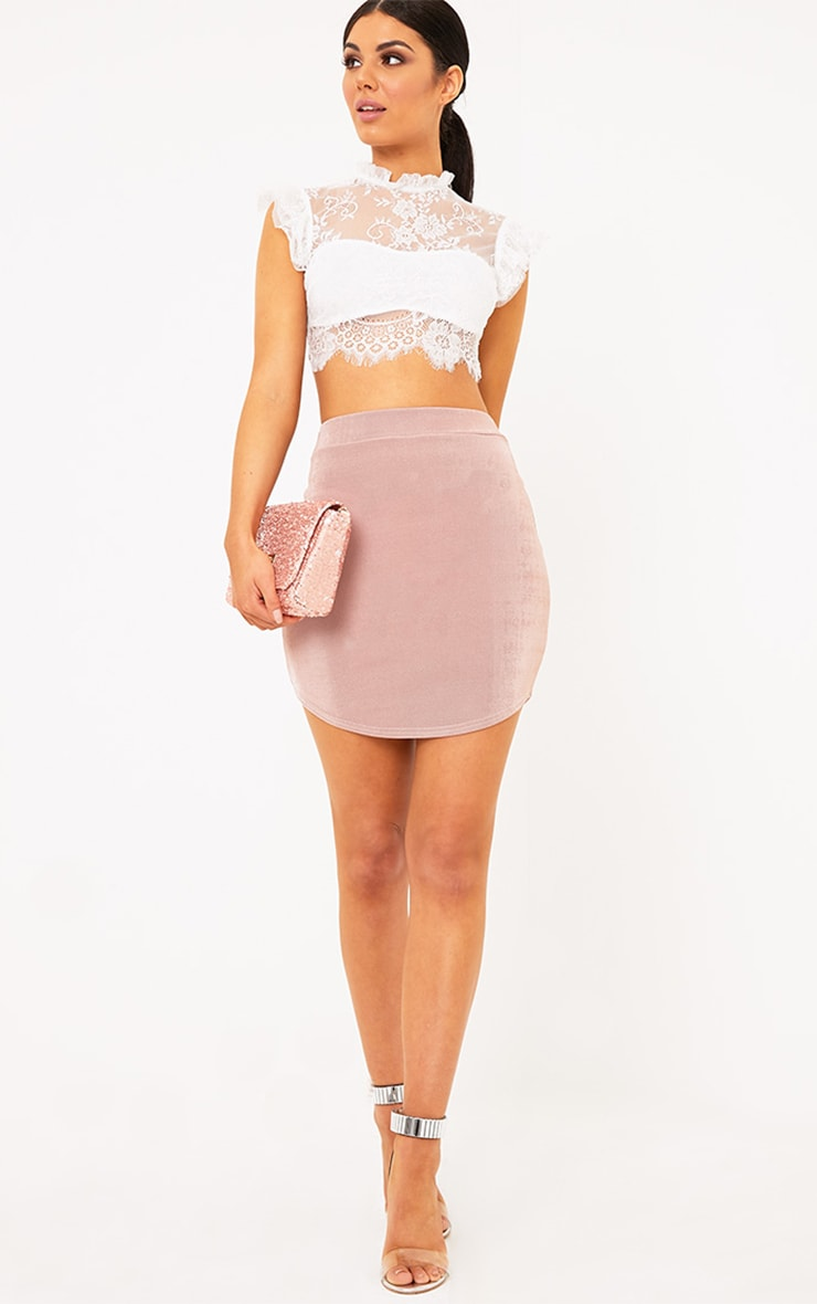 Lizandra Blush Disco Slinky Mini Skirt  1