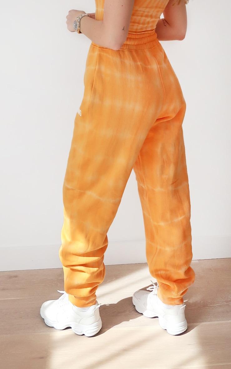 PRETTYLITTLETHING Orange Tie Dye Washed Joggers 4