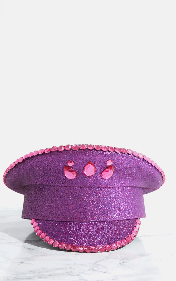 Purple Diamante Festival Captain Hat 3