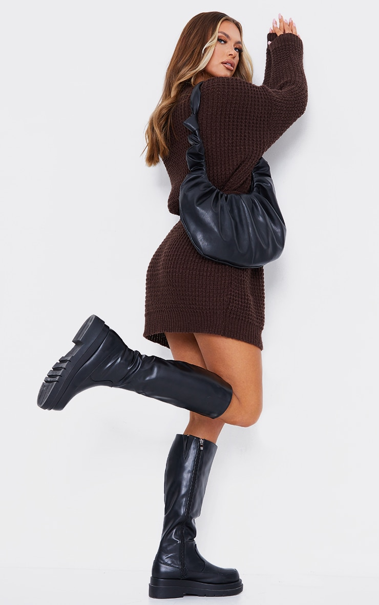 Chocolate Soft Touch Belted Knitted Jumper Dress 2