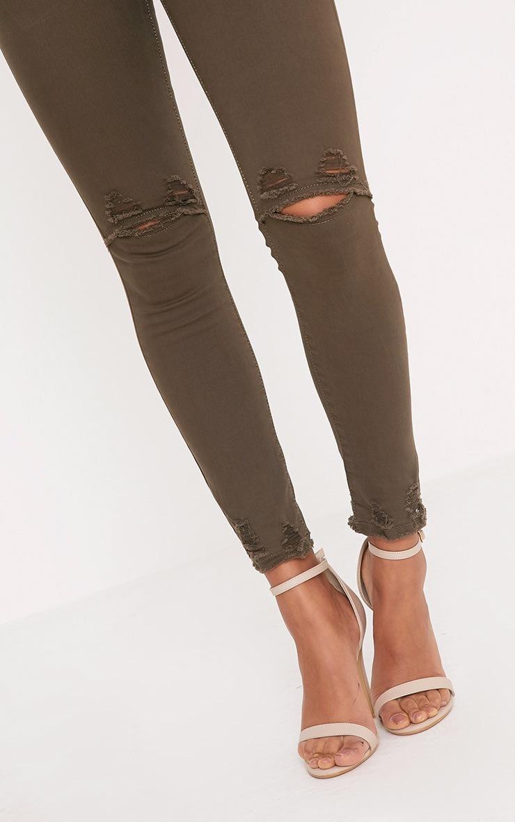 Honesty Khaki Knee Rip Cut Hem Skinny Jean 5