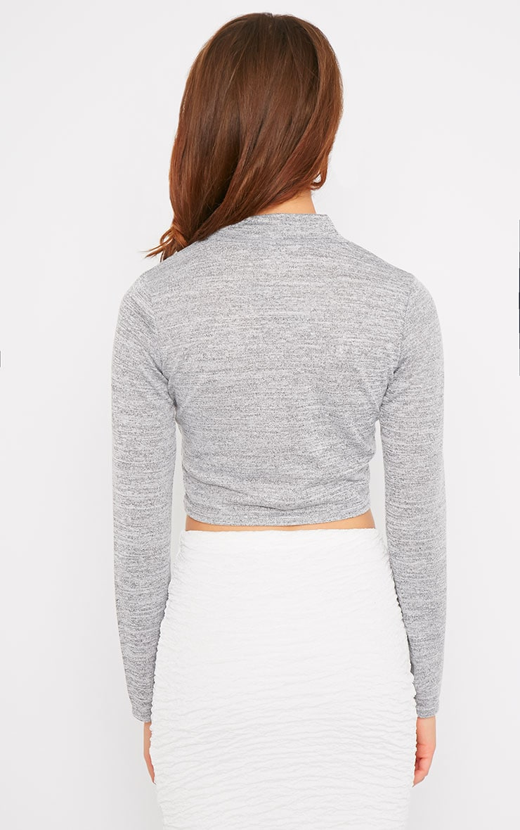 May Grey Marl Knitted Turtle Neck Crop Top  2