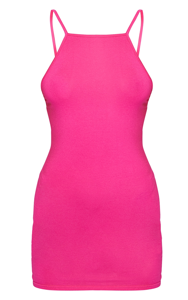 Hot Pink 90s Neck Bodycon Dress 5
