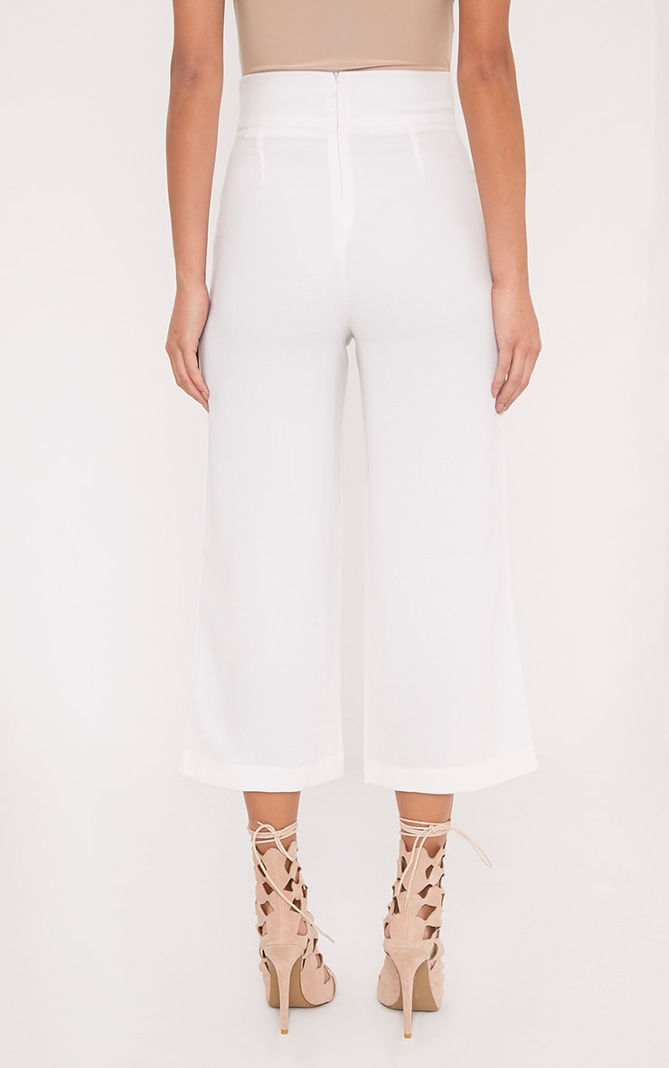Tazmin White High Waisted Culottes 4
