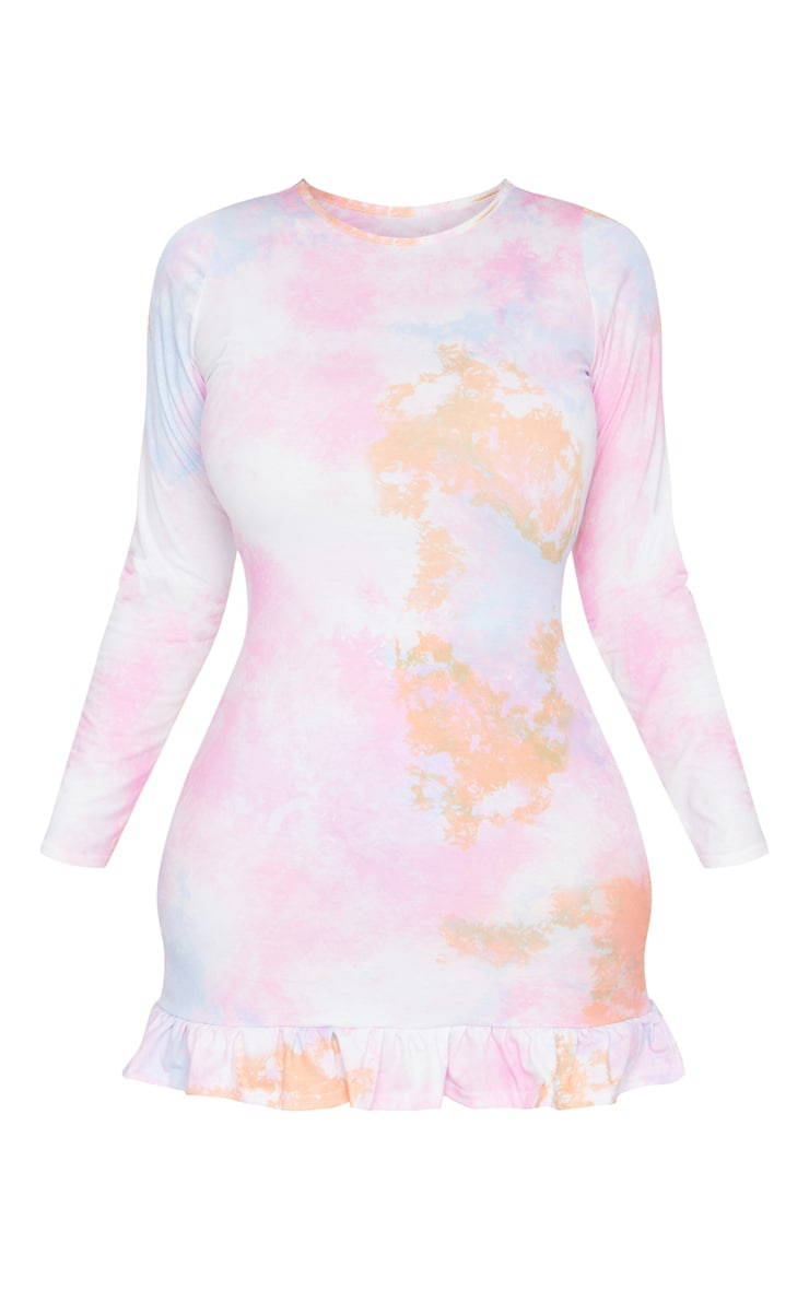 Plus Orange Tie Dye Long Sleeve Frill Hem Shift Dress 5