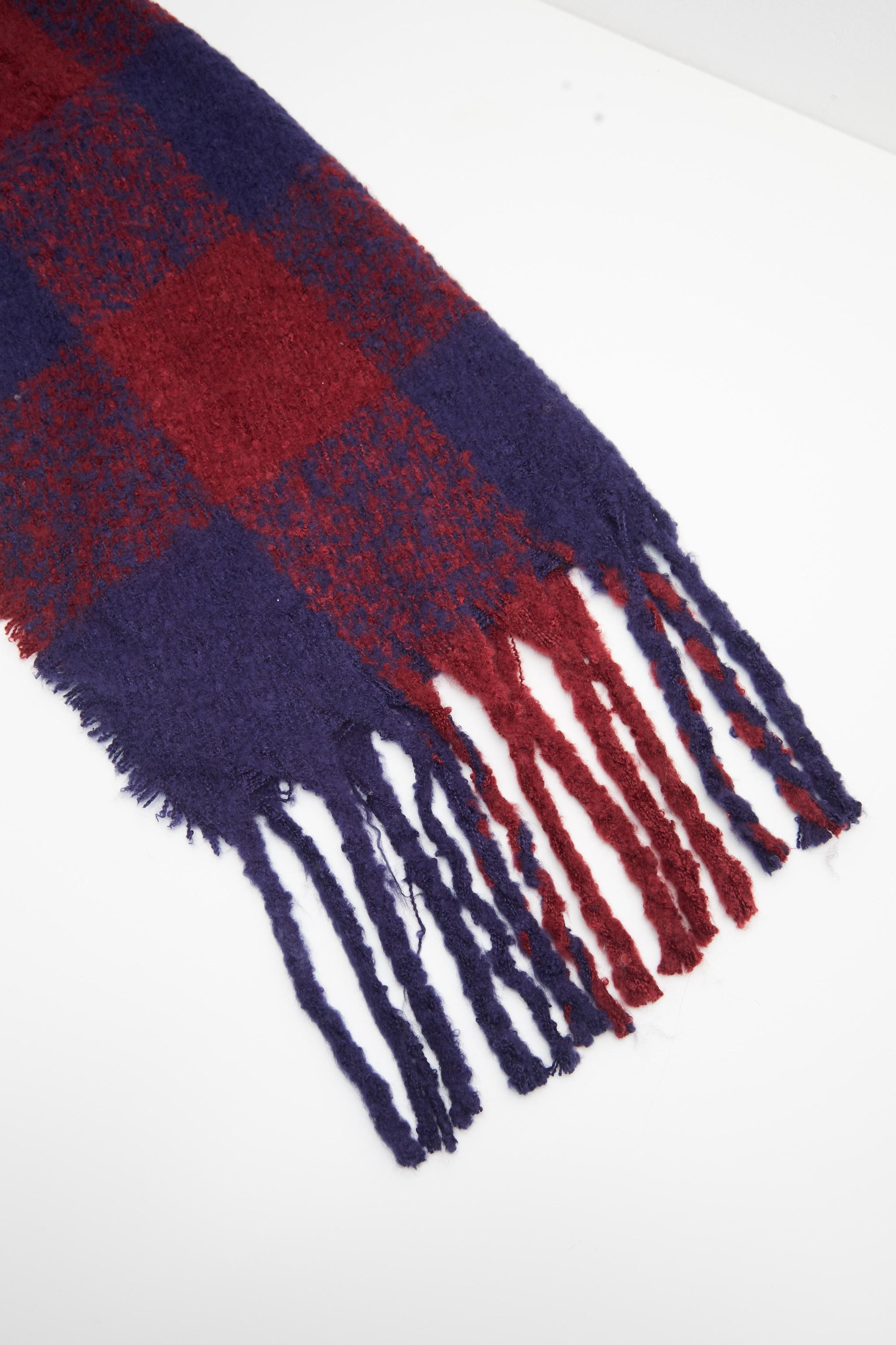 Burgundy And Navy Check Blanket Tassel Scarf 2