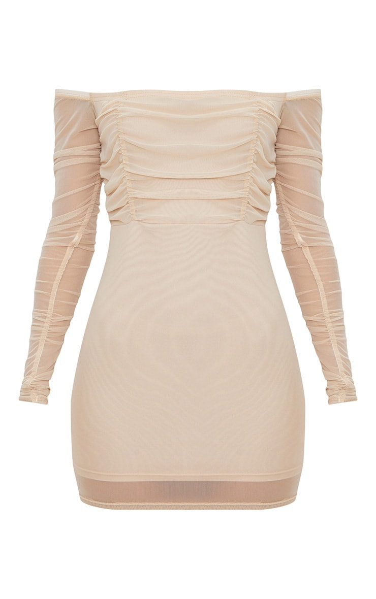 Stone Ruched Mesh Bardot Bodycon Dress 3