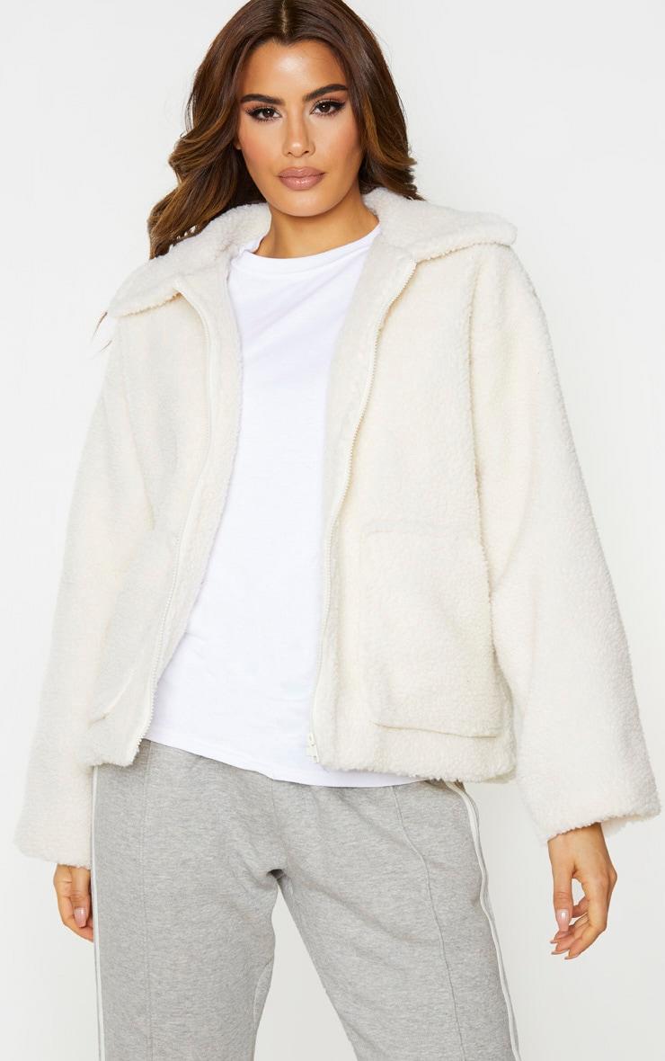 Tall - Veste oversize crème en faux mouton à zip 1