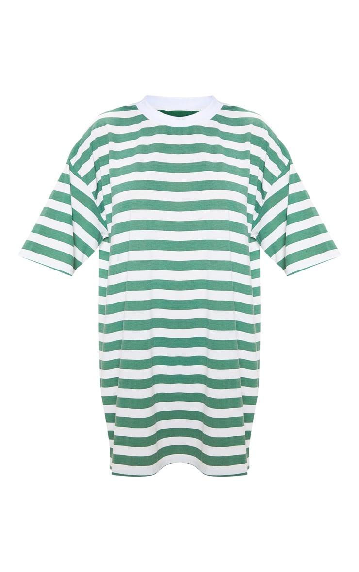 Forest Green Striped Oversized Boyfriend T Shirt Dress 3