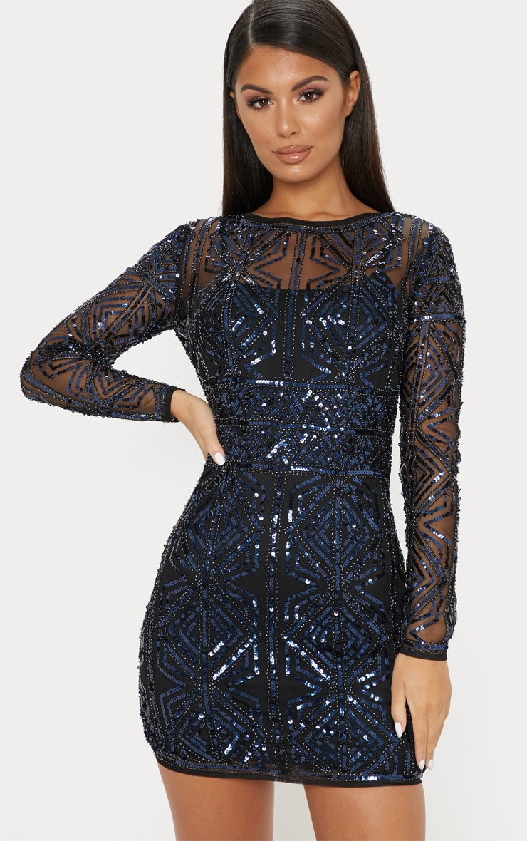 ba33bcbef1 Black Sequin Embellished Bodycon Dress image 1