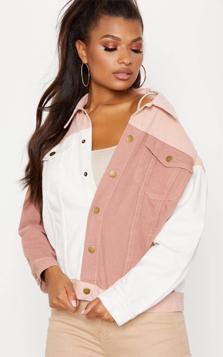 Nude Colour Block Denim Jacket