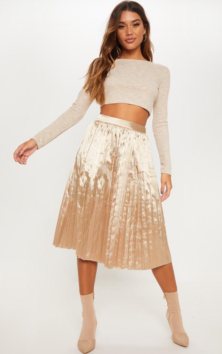 Champagne Satin Pleated Midi Skirt 1