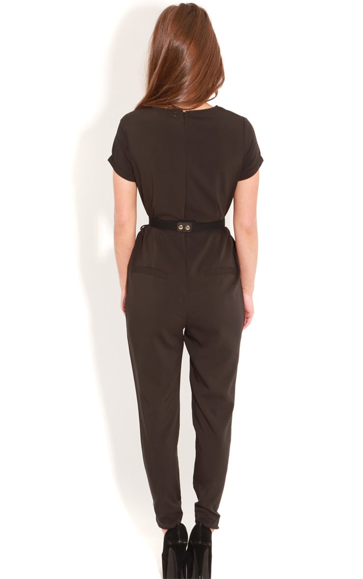 Alberta Black Short Sleeve Fitted Jumpsuit 2