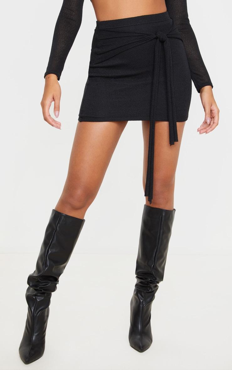 Black Lightweight Knit Tie Front Mini Skirt 2