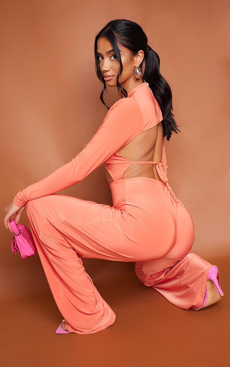 Petite Orange Cut Out Long Sleeve Wide Leg Jumpsuit 1
