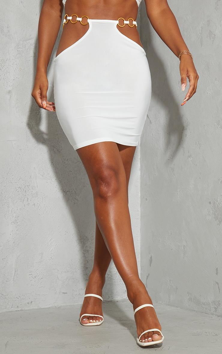 Cream Slinky Cut Out Waist Mini Skirt 2