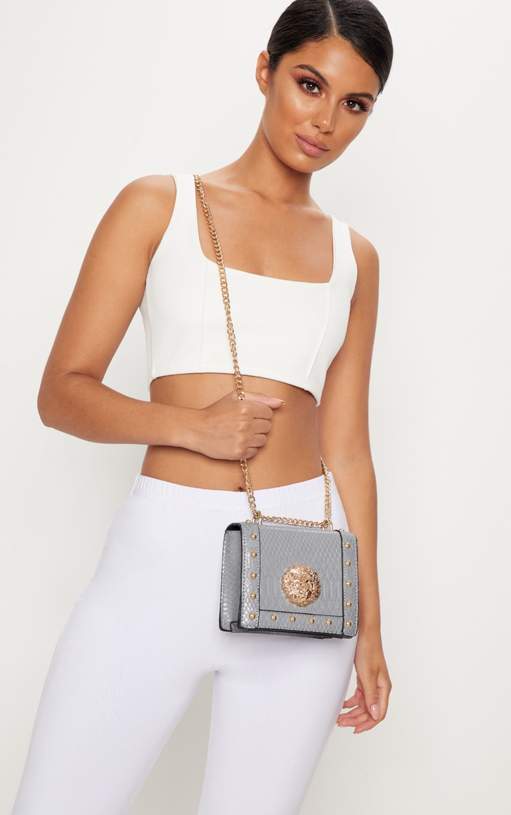 Grey Lion Stud Chain Cross Body Bag 1
