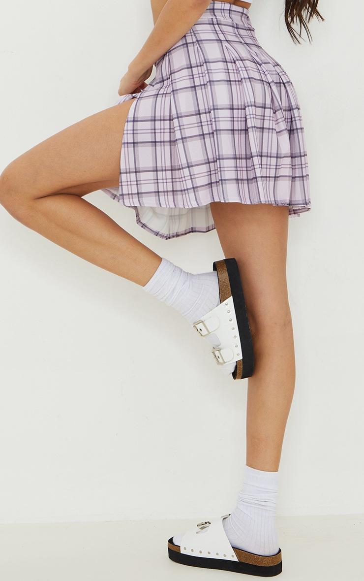 Lilac Check Tennis Side Split Skirt 3