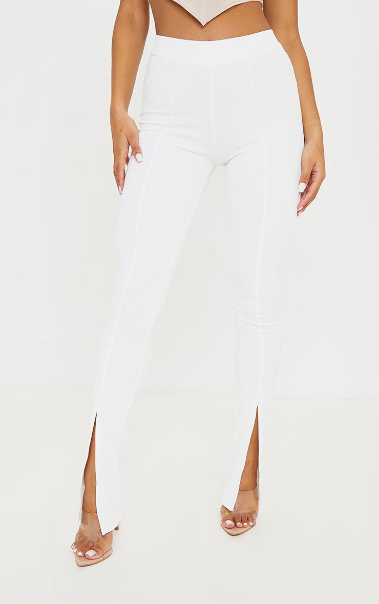 White Stretch Scuba Skinny Split Hem Trousers 2