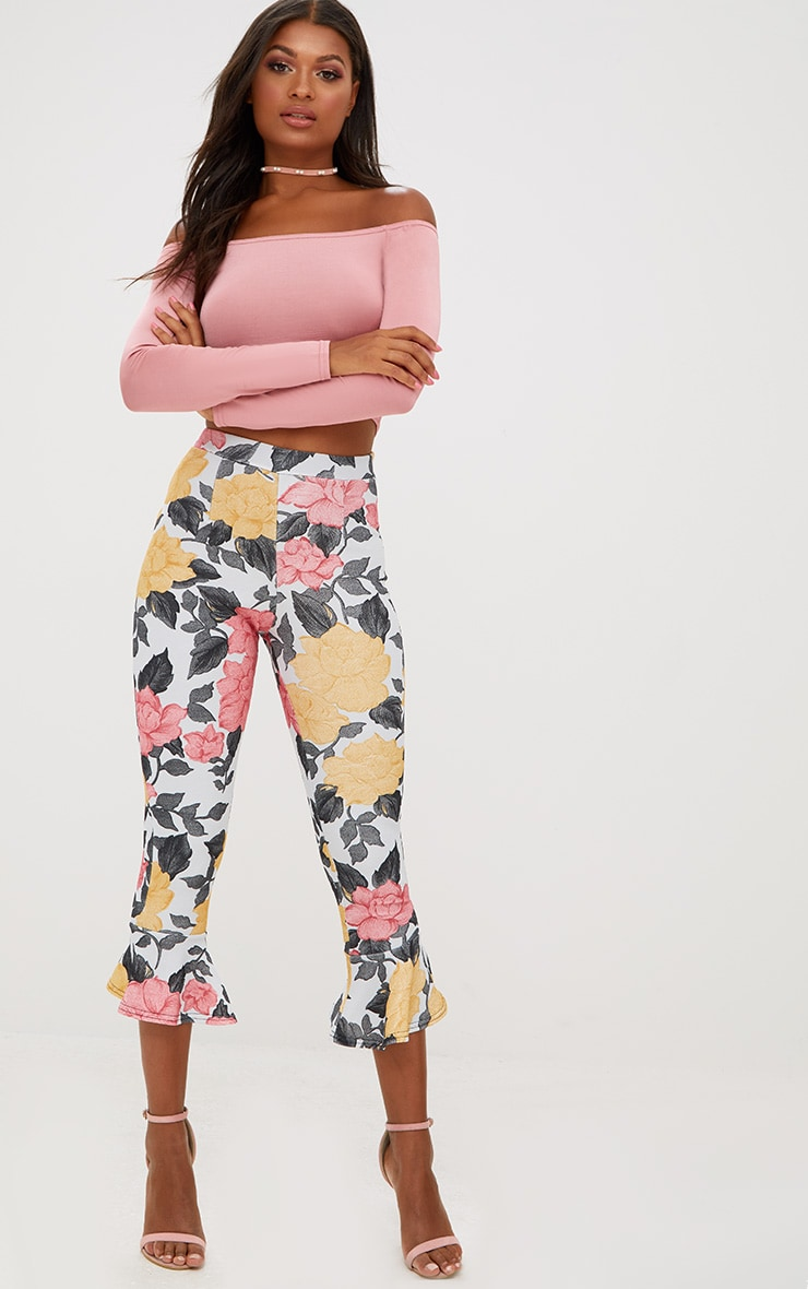 Grey Large Floral Flare Hem Trousers 1