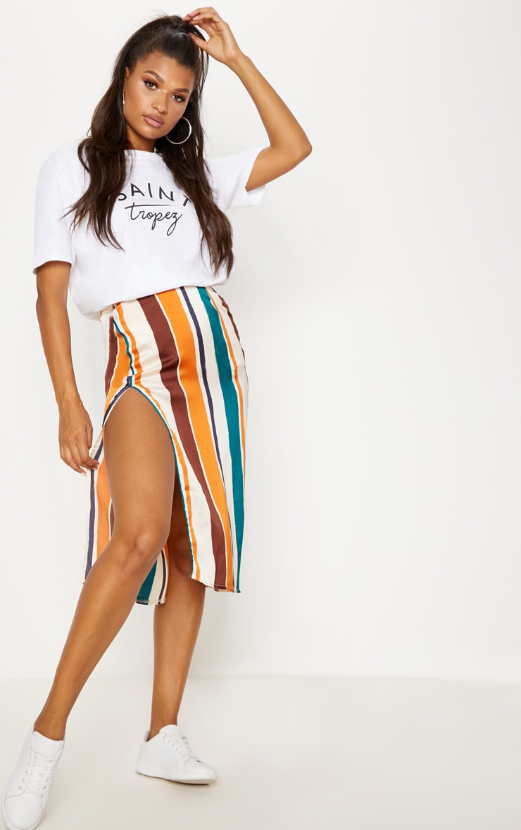 Orange Satin Stripe Midi Skirt 1