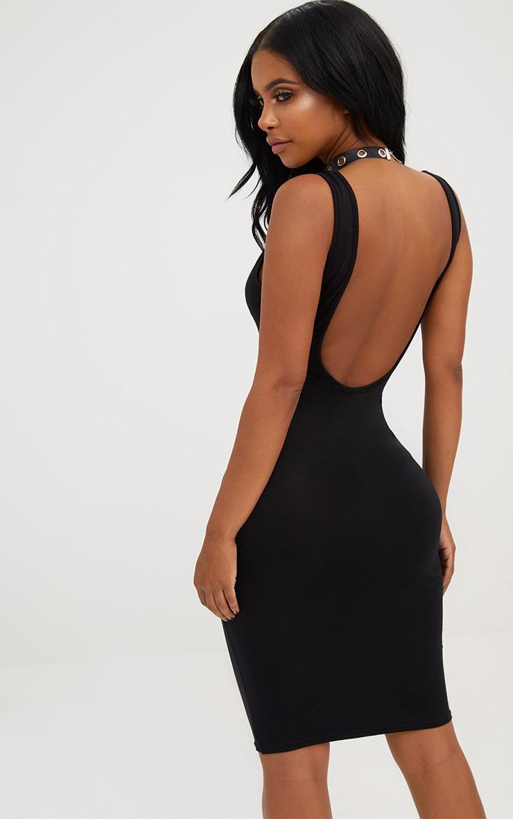 Shape Black Lace Up Front Bodycon Dress 2